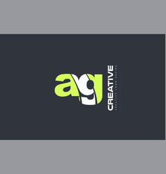green letter ag a g combination logo icon company vector image vector image
