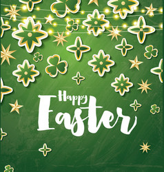 Happy easter card with green flowers and neon vector