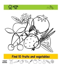 Homework for kids how to find the ten fruits and vector image vector image