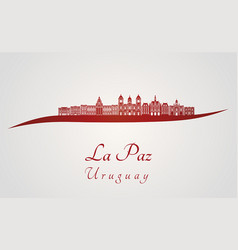 La paz skyline in red vector