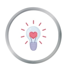 Lightbulb icon in cartoon style isolated on white vector