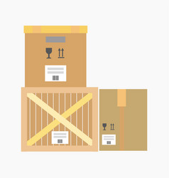 Logistics flat icon of wooden or cardboard vector