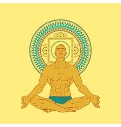 Man sitting in meditation pose vector image