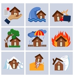 Natural disaster house insurance business service vector