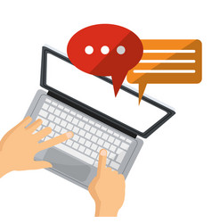 Person user laptop social media chat talk vector