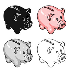 Piggy bank icon in cartoon style isolated on white vector