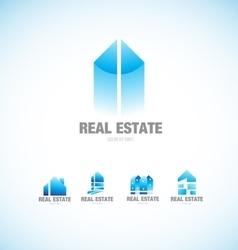 Real estate building blue logo vector