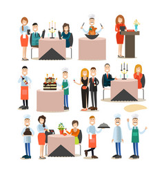 restaurant people flat icon set vector image