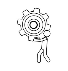 Silhouette pictogram man holding a pinion vector
