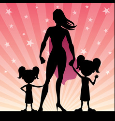 Super mom 2 daughters vector