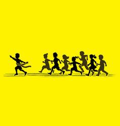 The winner group of children running marathon vector