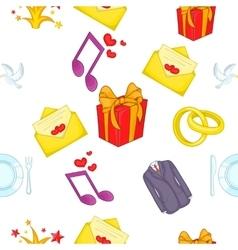 Wedding celebration pattern cartoon style vector