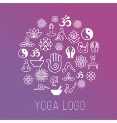 Yoga symbols in round label shape vector image vector image