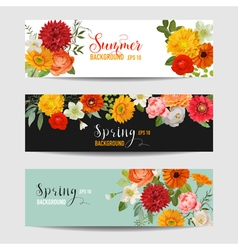 Summer floral banners and tags set vector