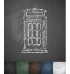 Phone booth icon hand drawn vector