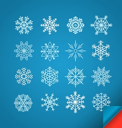 Different white snowflakes set on blue design vector