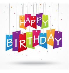 Birthday celebration background on label vector