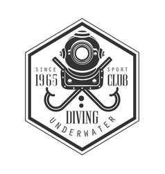 Diving underwater sport club since 1965 vintage vector
