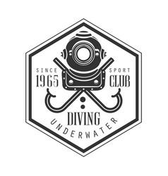 Diving underwater sport club since 1965 vintage vector