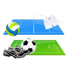 Football and volleyball backgrounds vector