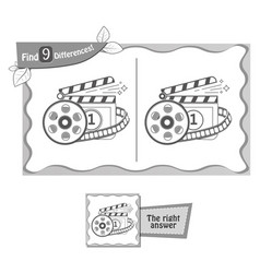 Find 9 differences game cinema vector