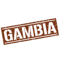 Gambia brown square stamp vector
