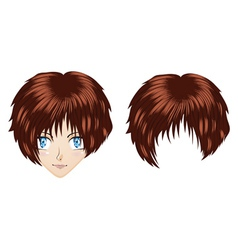 Anime brunette girl vector