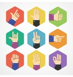Flat hands icons set vector