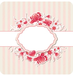 Heart and red flowers vector