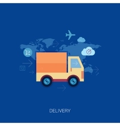 Online shopping and purchase delivery lorry or vector