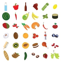 Isolated set meal vegetables and fruit flat vector