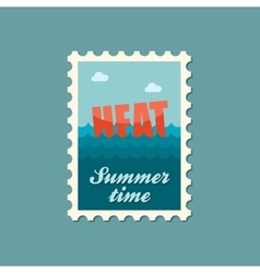 Heat flat stamp summertime vector