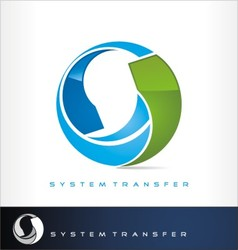 System transfer logo or exchange symbol vector