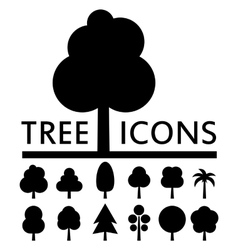Black tree icons collection vector