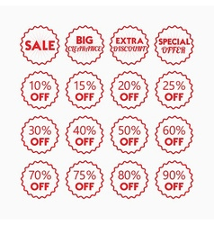 Shopping and retail sale red line emblems set vector
