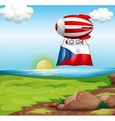 A floating balloon with the czech republic flag vector