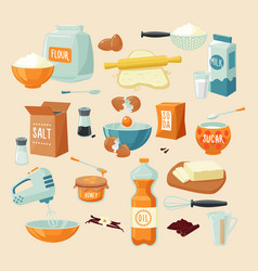 Baking ingredients set vector