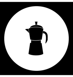 Black isolated moka pot italian coffee maker eps10 vector