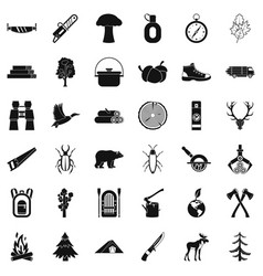 camping icons set simple style vector image vector image