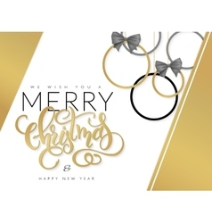 christmas with hand lettering vector image vector image