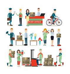 delivery people flat icon set vector image