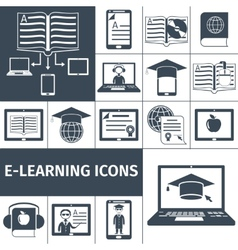 E-learning icon black set vector