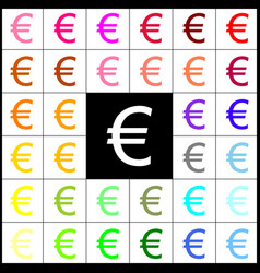 Euro sign felt-pen 33 colorful icons at vector