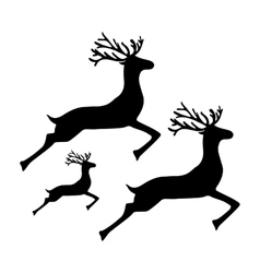 Family of reindeer jumping and running on a white vector