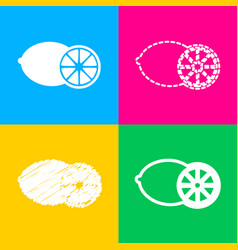 fruits lemon sign four styles of icon on four vector image vector image