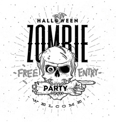 Halloween party poster with zombie head and hand vector