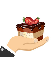 hand holding sweet cake vector image