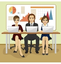 Happy business people sitting with their laptops vector image vector image
