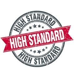 High standard red round grunge vintage ribbon vector