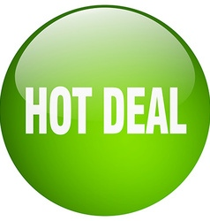 Hot deal green round gel isolated push button vector